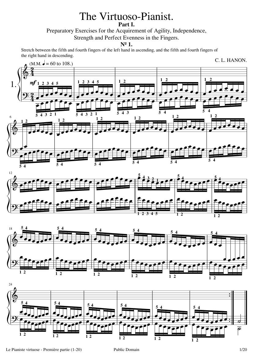Free Sheet Music Hanon Charles Louis Premi Re Partie 1 20 The Virtuoso Pianist Part I Piano Solo