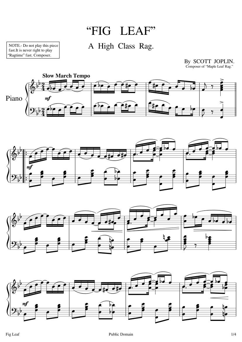Free Sheet Music Joplin Scott Fig Leaf Rag Piano Solo