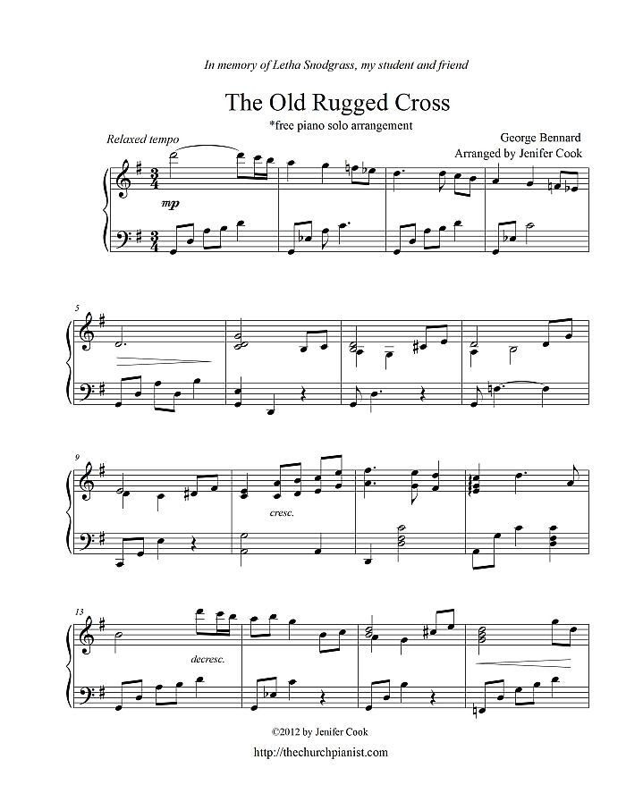 Piano piano and trumpet duet sheet music : Free sheet music : Bernard, George - The Old Rugged Cross (Piano solo)