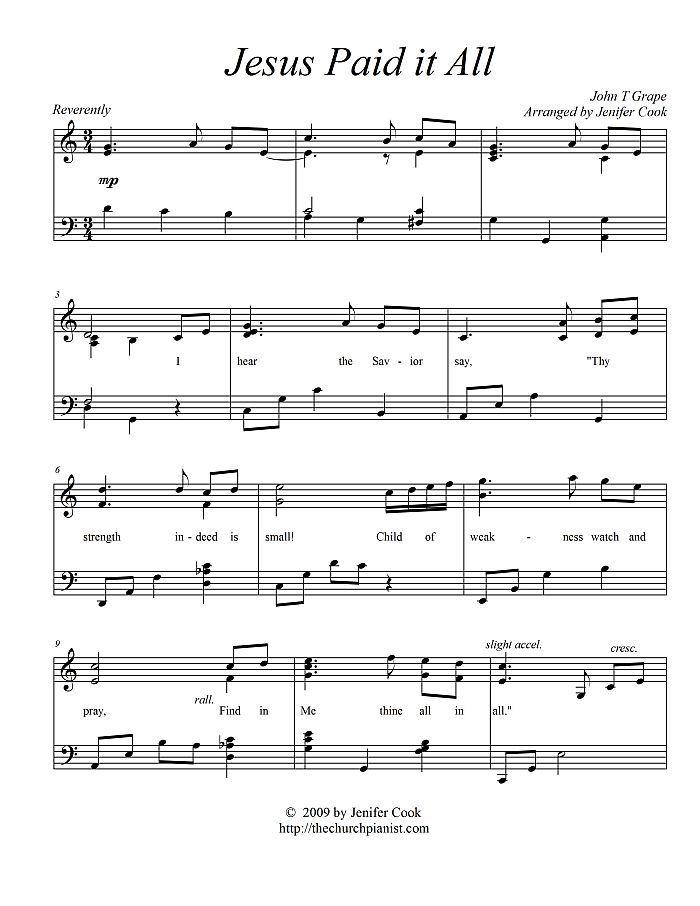 Free sheet music : Grape, John Thomas - Jesus Paid it All (Piano solo)