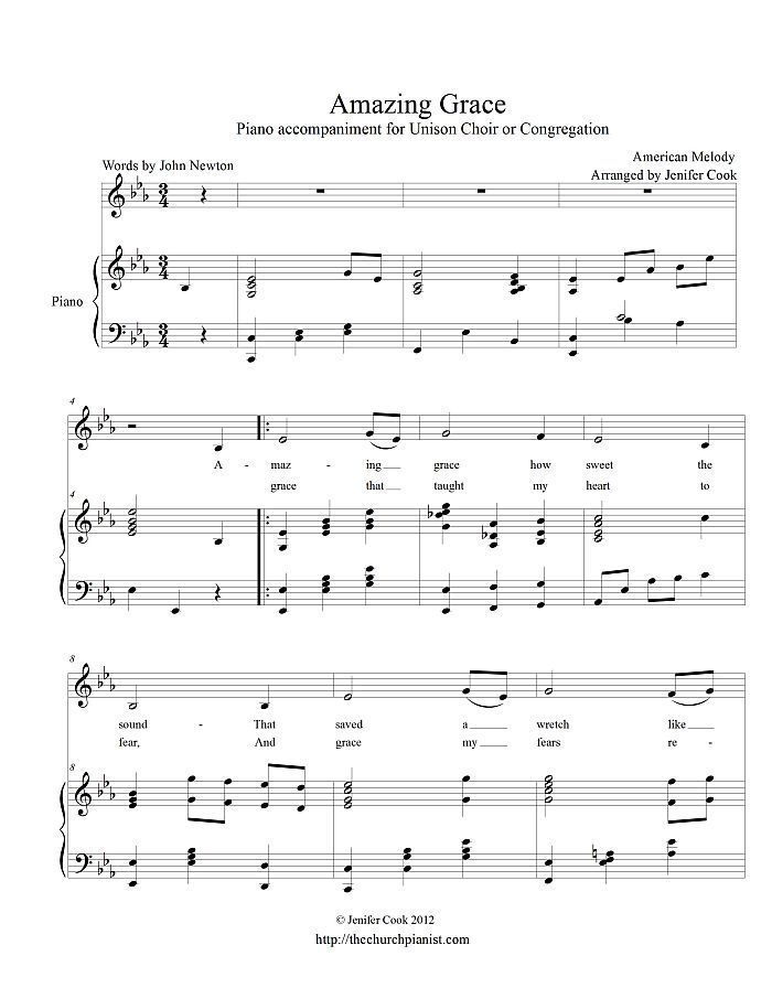 Free Sheet Music Traditional Amazing Grace Piano And Voice