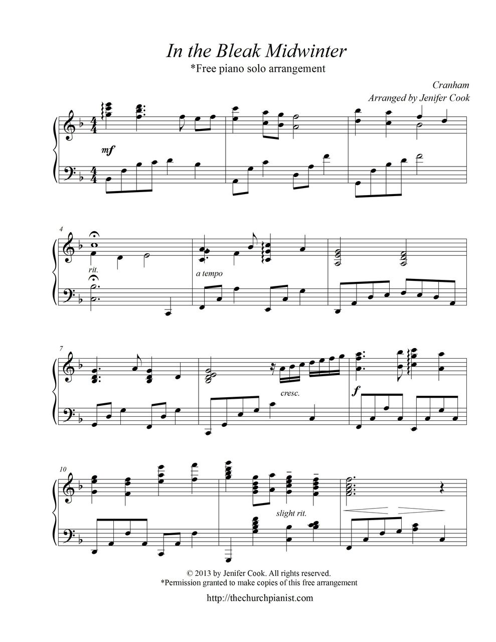 Free sheet music holst gustav in the bleak midwinter piano solo hexwebz Choice Image