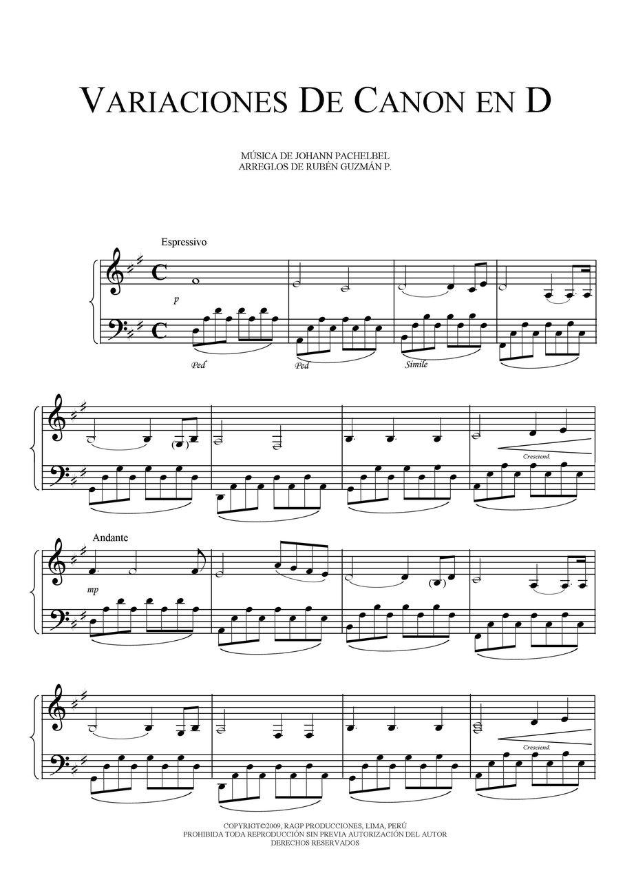 Free Sheet Music Pachelbel Johann Variation On Canon In